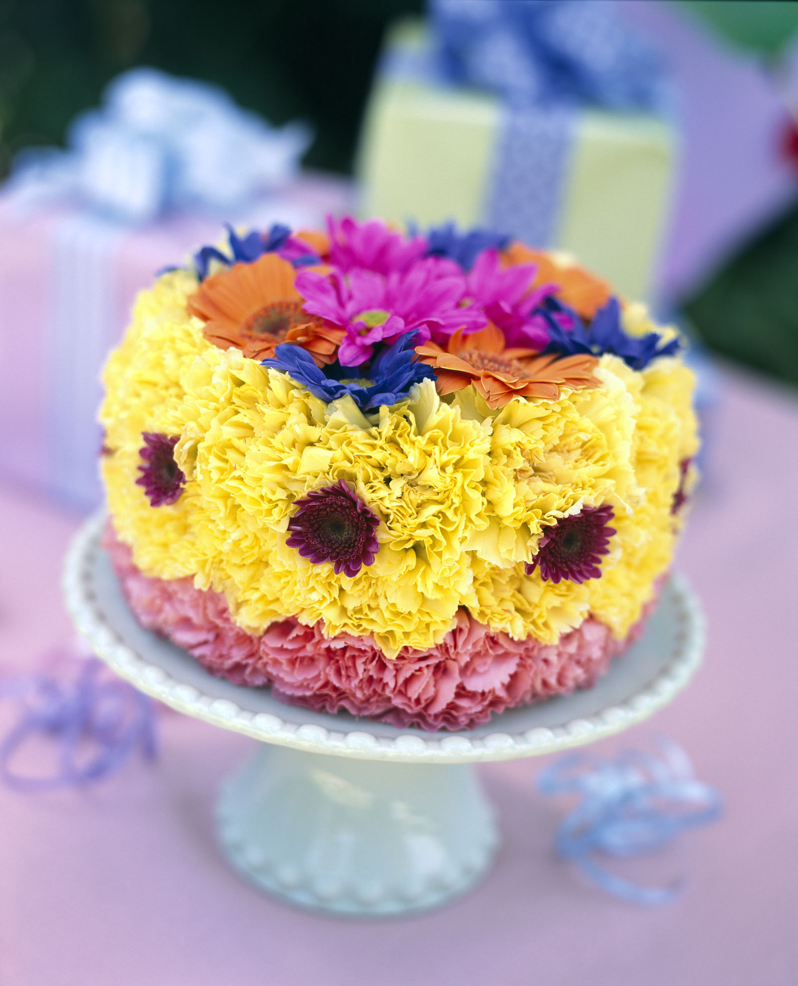 Birthday cake made out of flowers  Floral Arrangements  Pinterest